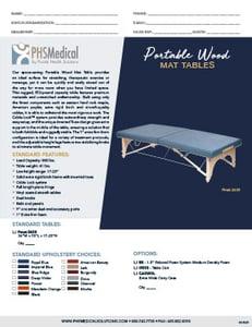 Portable Wood Mat Table Data Sheet