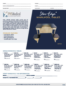 Stor-Edge Single Whirlpool Tables Data Sheet