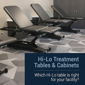 Hi-Lo Treatment Tables & Cabinets cover with black Thera-P tables