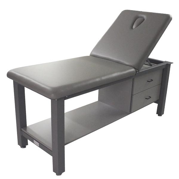 Aluma Elite Basic Treatment Table with Lift Back, Shelf, Cabinet, Nose Hole, and (2) Drawers