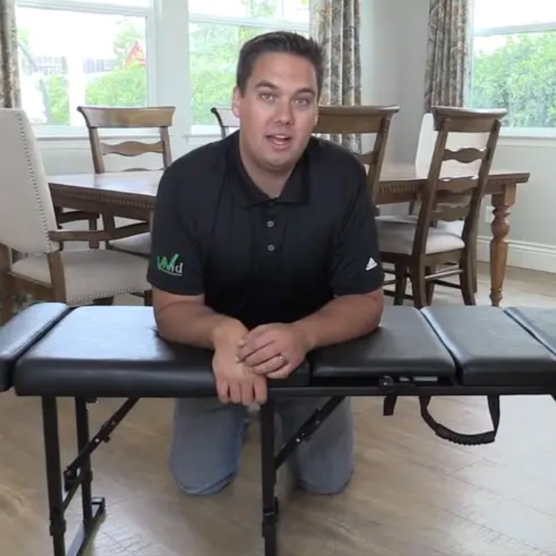 Dr. Beau Pierce with the Basic Pro Chiropractic Table